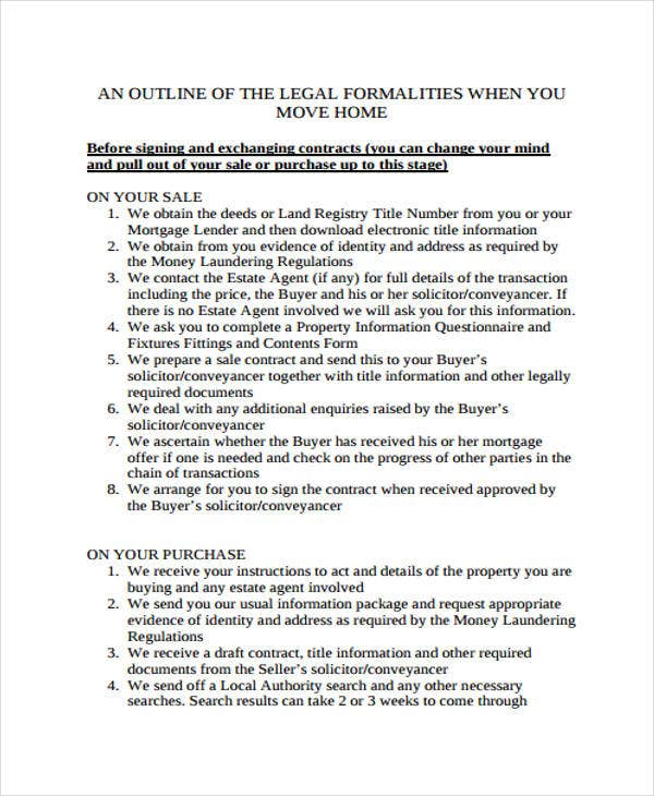 legal outline sample