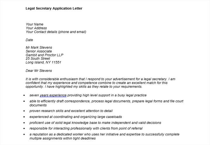 legal secretary job application letter