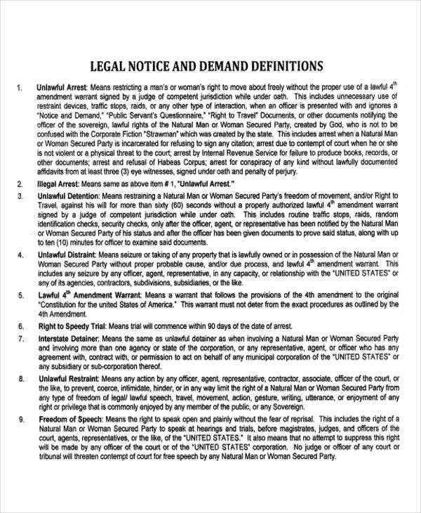18 Legal Notice Templates Pdf Doc Free Premium Templates