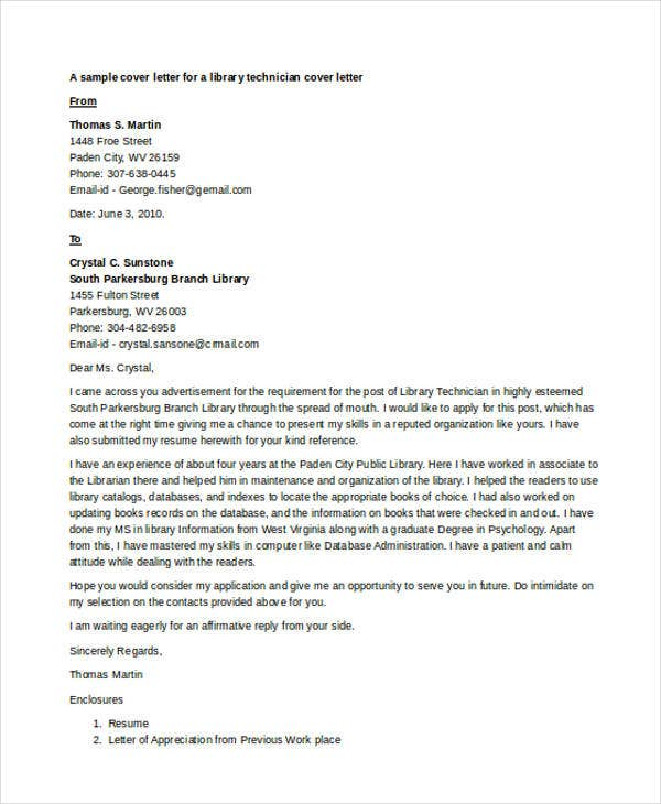 librarian technician - Librarian Cover Letter Sample