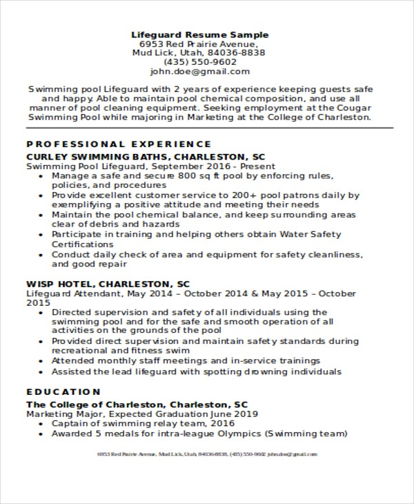 Lifeguard Experienced Resume  Resume For Lifeguard