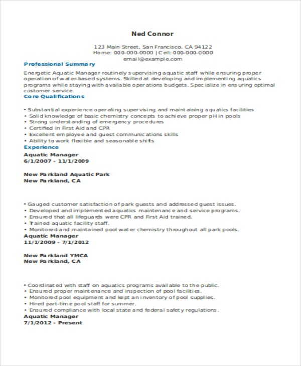 Lifeguard Manager Resume  Resume For Lifeguard