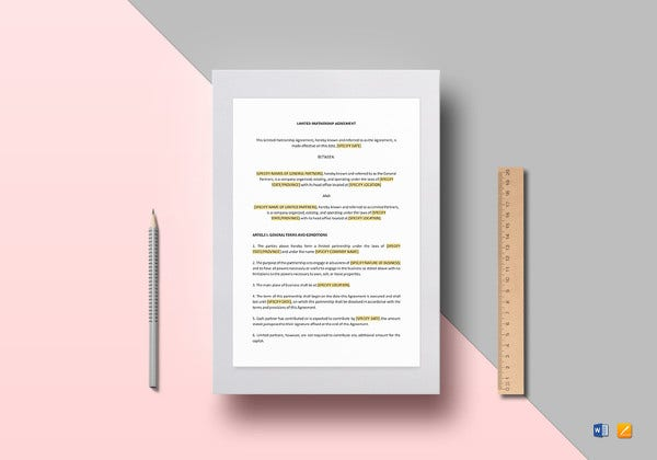 limited partnership agreement word template