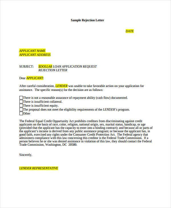 10+ Application Rejection Letter - Free Sample, Example format ...