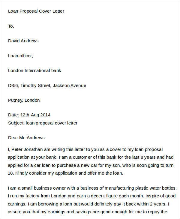 Loan Proposal Cover Letter