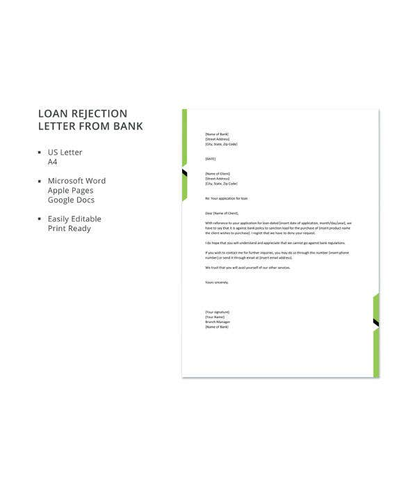 loan rejection letter from bank