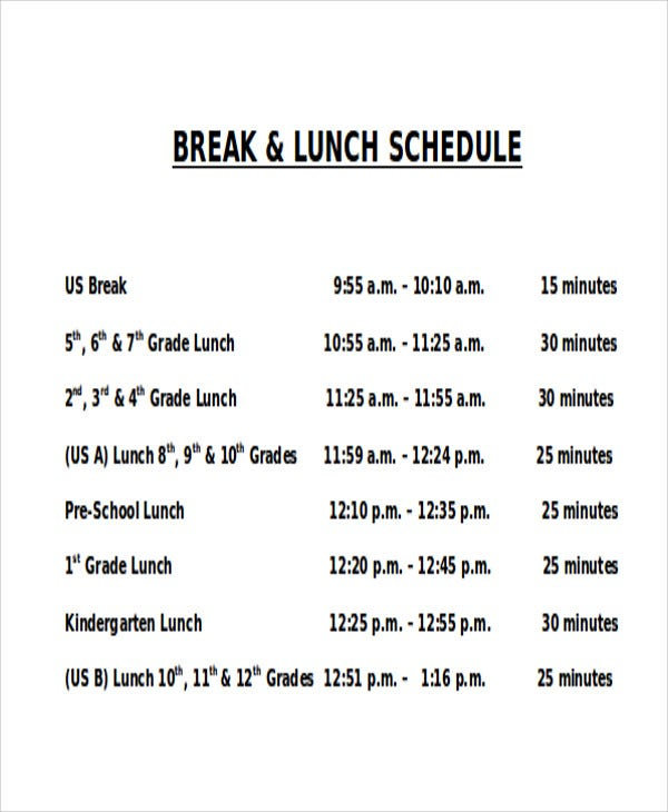 lunch and break schedule