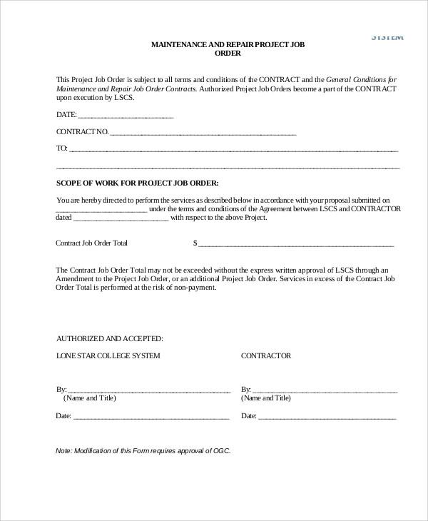 maintenance job order