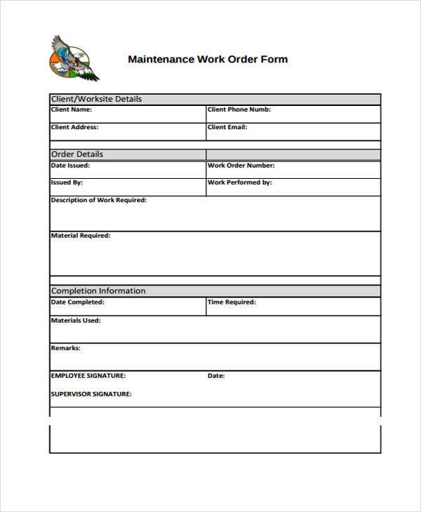 Merveilleux Maintenance Work Order Template