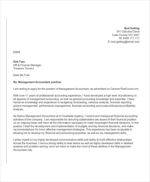 Cover Letter General Accounting - Accountant Cover Letter
