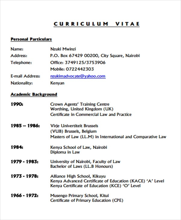 9  legal curriculum vitae templates