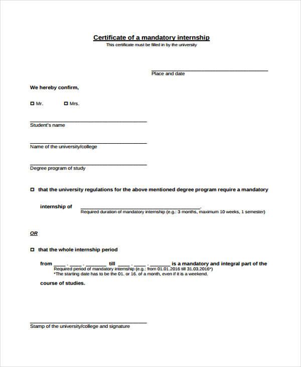 mandatory internship certificate