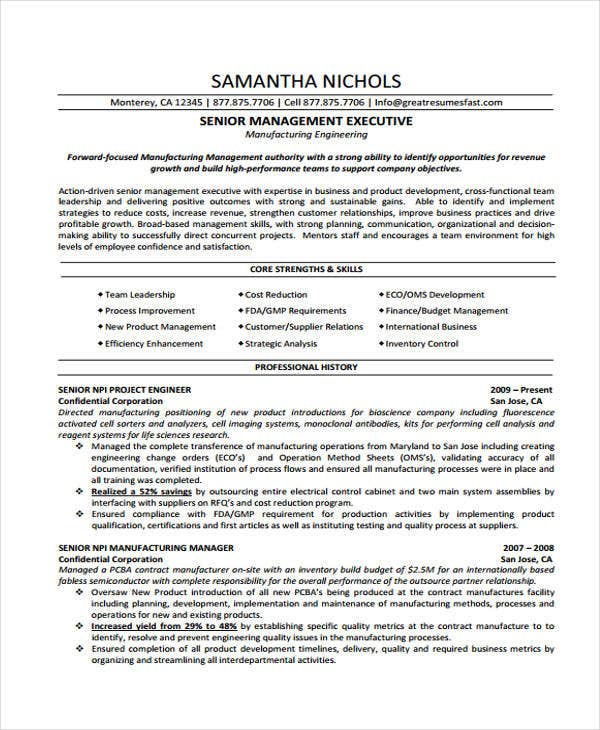 Manufacturing Manager Free Resume Samples Blue Sky Resumes Resume