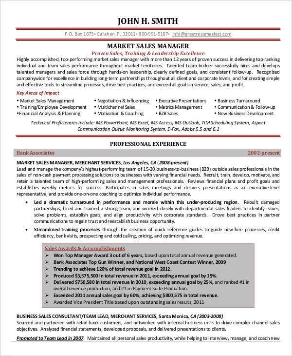 Market Sales Manager Resume