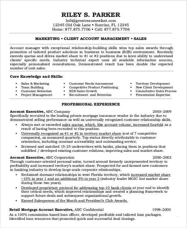Executive Resume Examples - 27 Free Word, Pdf Documents Download