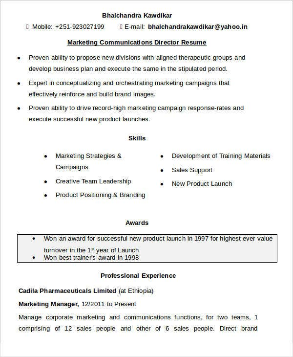 Marketing Communications Director Resume