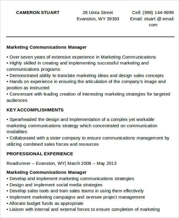 Marketing Communications Manager Resume