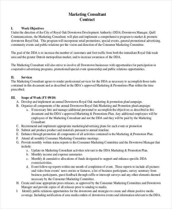 37 basic contract templates free premium templates for Marketing consultant contract template