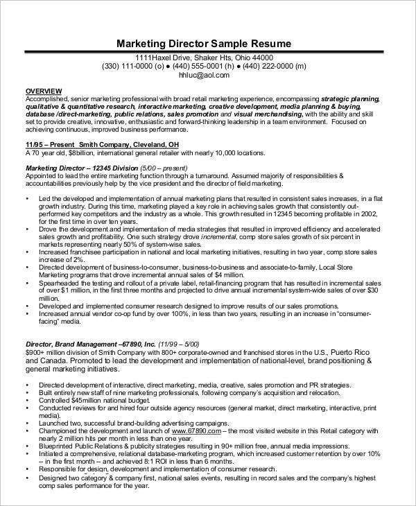 Marketing Director Sample Resume
