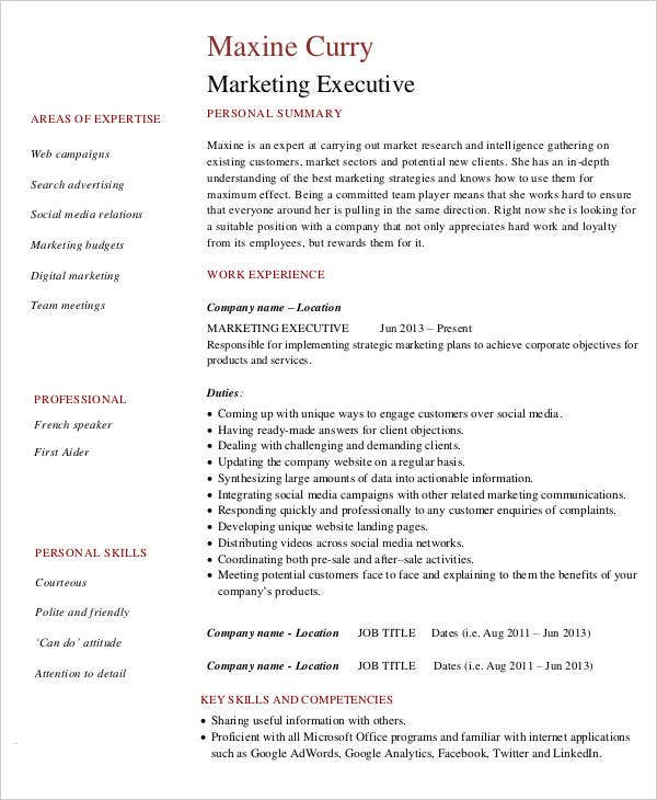 resume format for marketing executive pdf 28 images