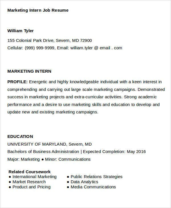 Marketing Intern Job Resume
