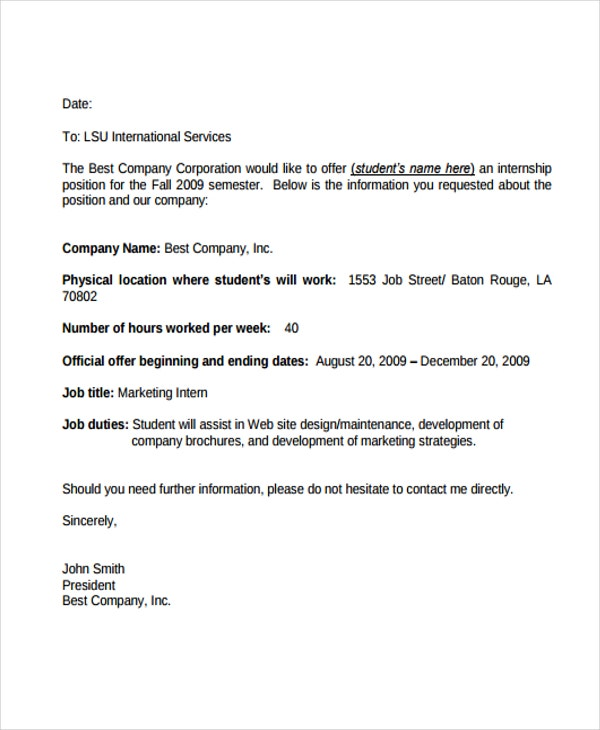 Internship Offer Letters  Free Samples Examples Format Download