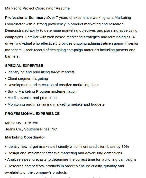 Marketing Project Coordinator Resume