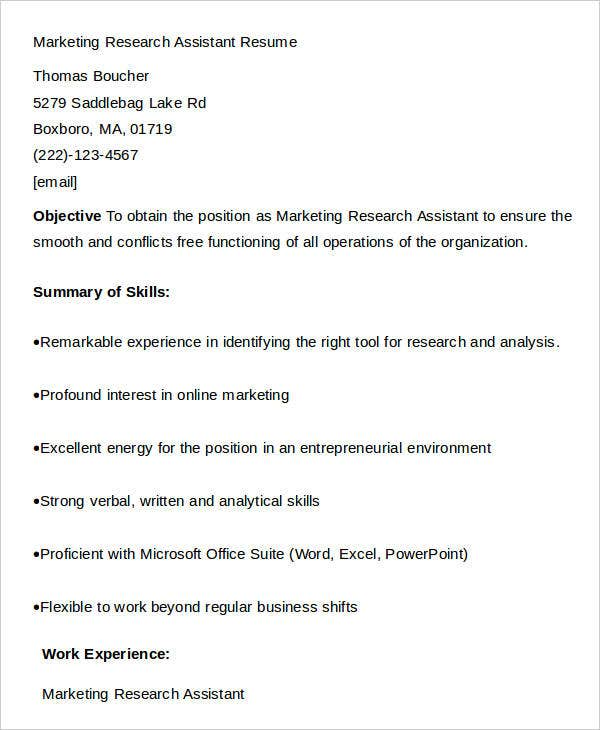 Marketing Research Assistant Sample Resume