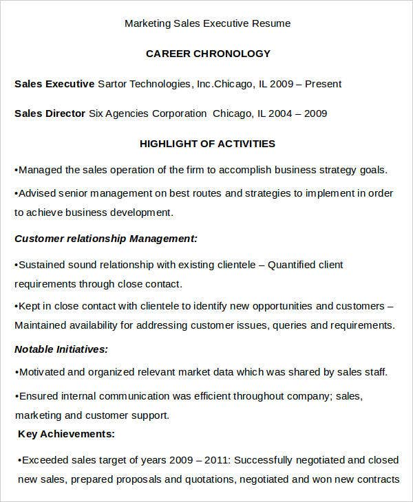 Marketing Sales Executive Resume