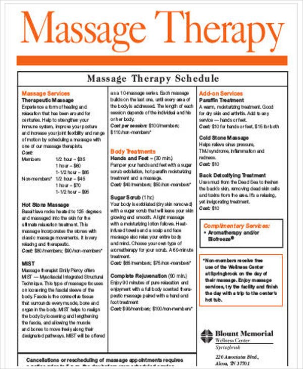 massage schedule