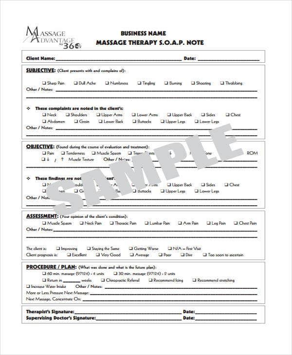 25 sample note templates free premium templates for Free massage soap notes template