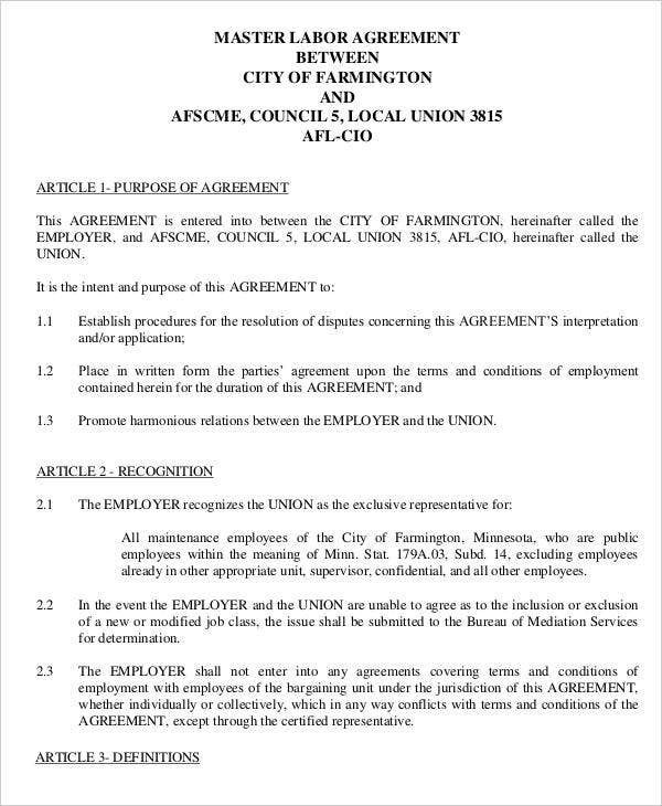 Labor Agreement Templates  Free Samples Examples Format