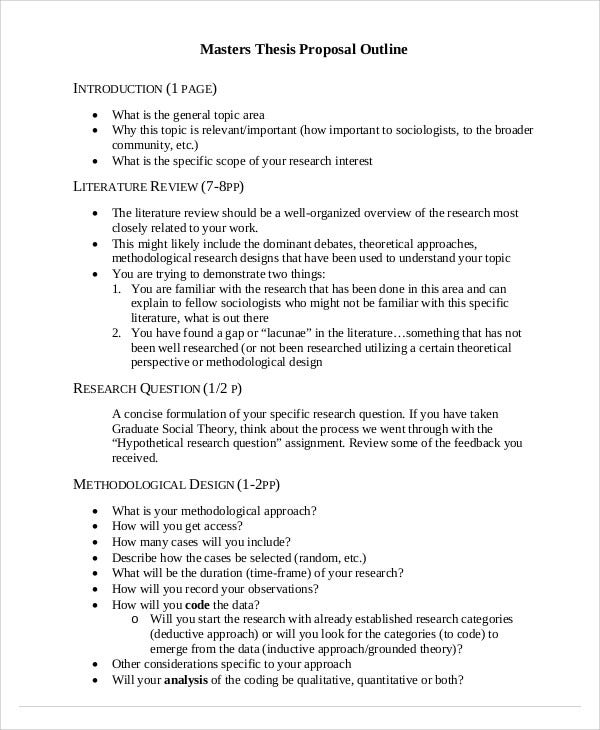 Thesis Outline Templates  Free Sample Example Format Download