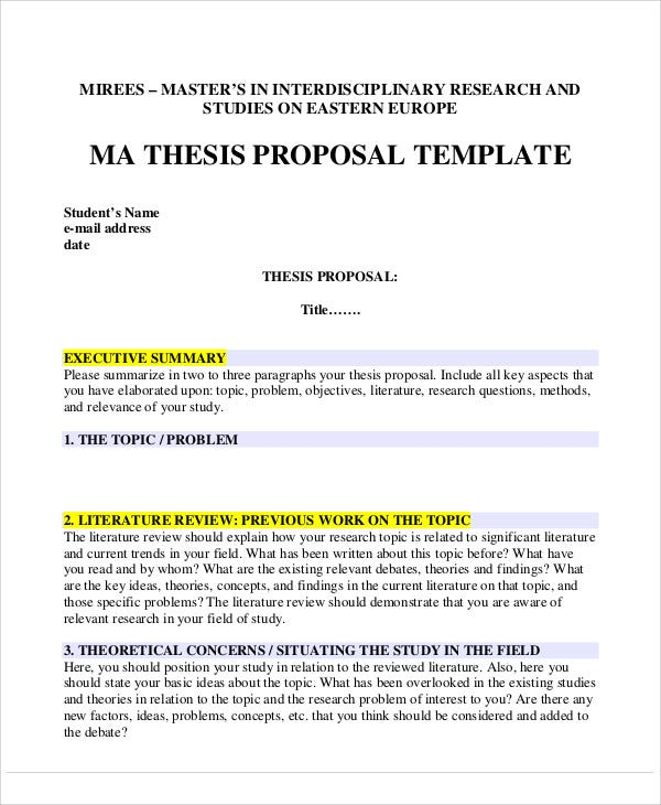 9+ Thesis Proposals – Free Sample, Example, Format Download