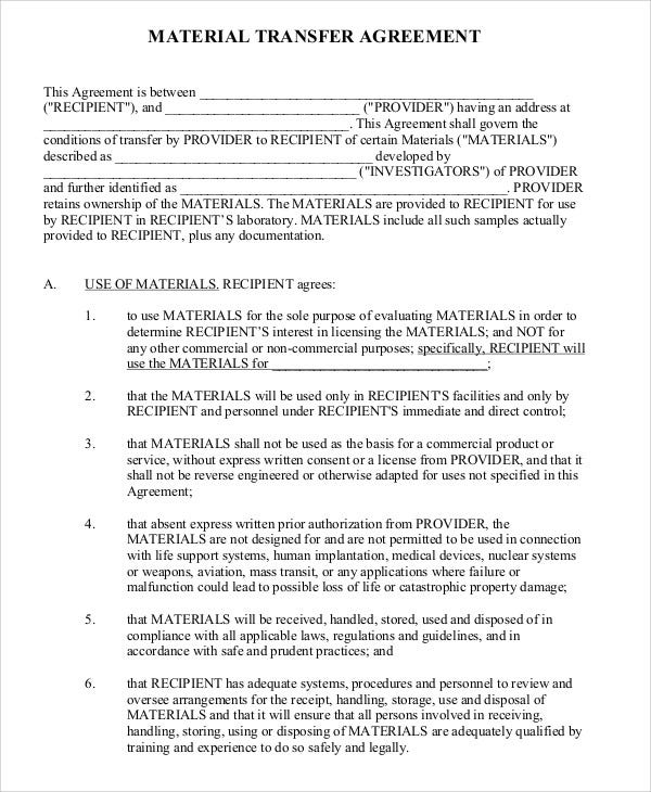 Transfer Agreement Templates 9 Free Word Pdf Format Download