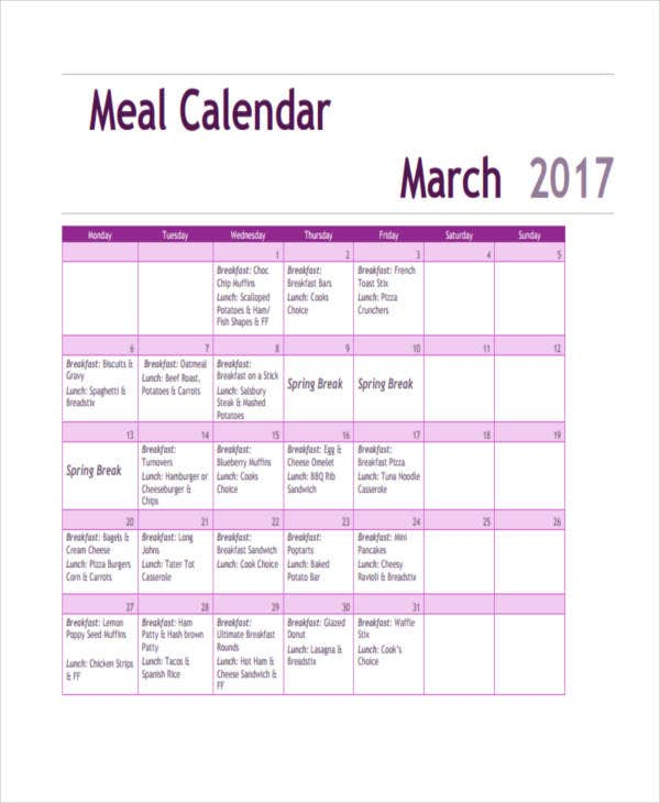 Meal Calendar. Here 4 Free Printable Meal Planning Calendars To