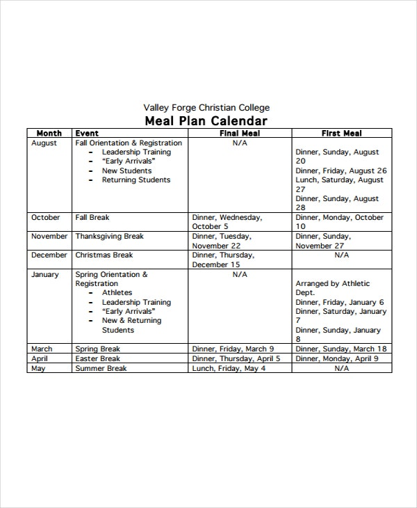meal plan calendar