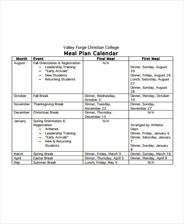 meal plan calendar1