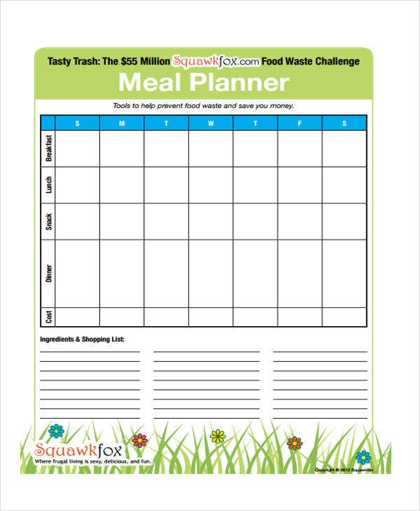 Meal Calendar Templates 10 Free Word Pdf Format Download Free