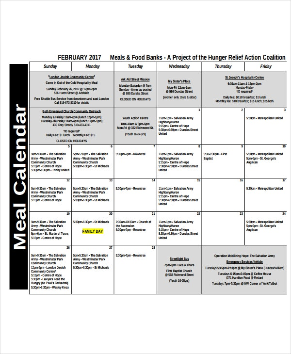 meal sample calendar