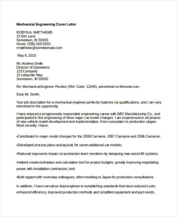 Engineering Cover Letters 11 Free Word PDF Format Download