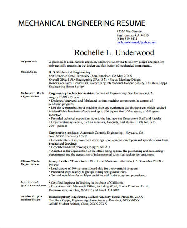 mechanical resume in pdf