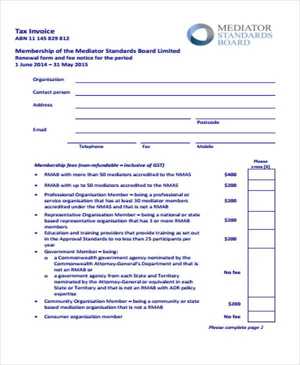 Membership Renewal Invoice  Membership Invoice Template