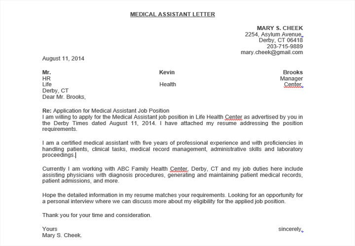certified medical assistant cover letters