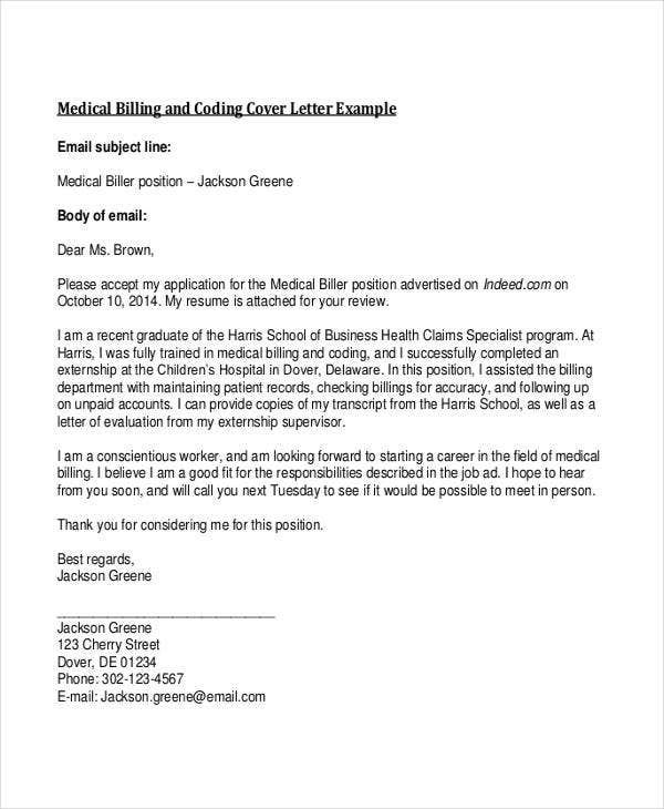 medical billing cover letters
