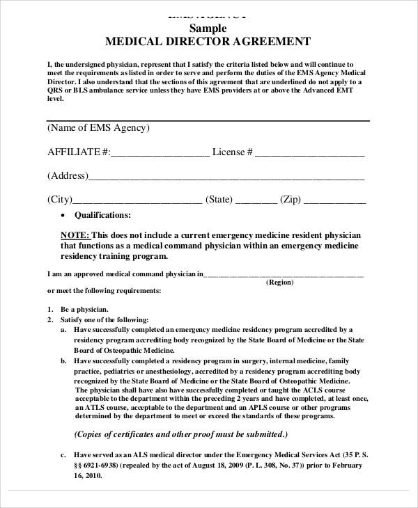 Superior Medical Director Agreement Template Idea Agreement Templates