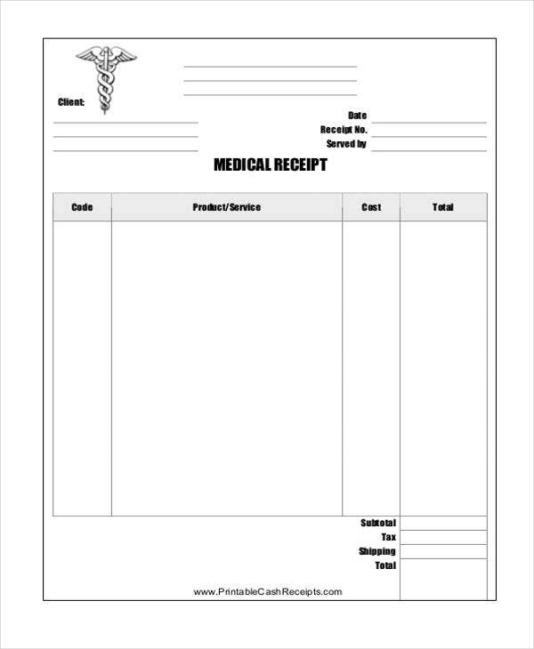 medical receipt example