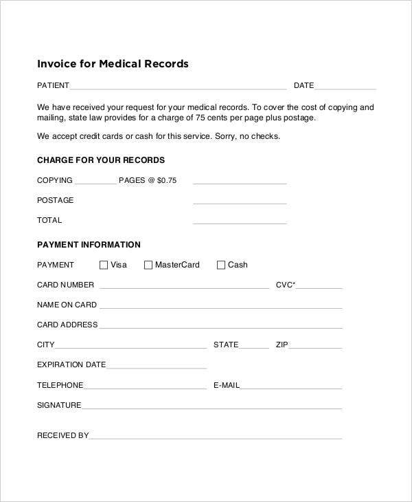 invoice for medical records template  medical records invoice template radiovkm.tk