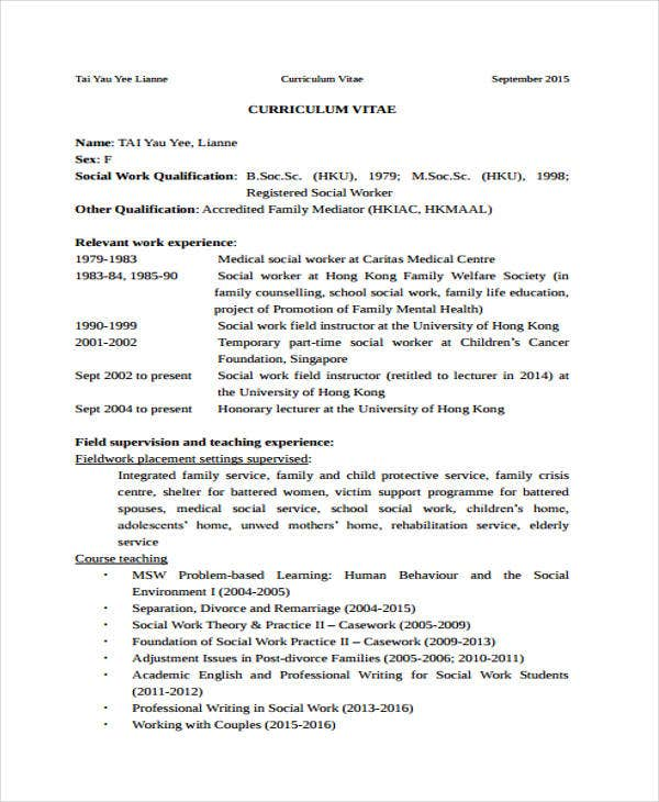 social worker resumes 8 free word pdf format download free