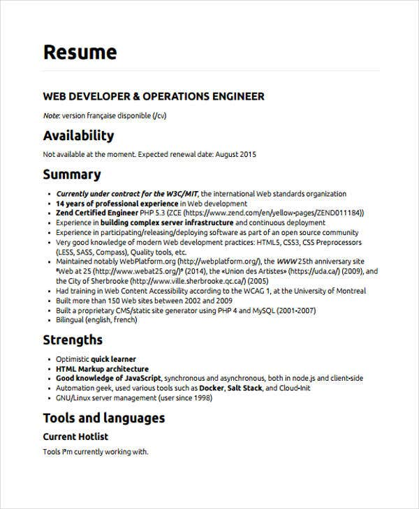 web developer resumes 9 free word pdf format download free